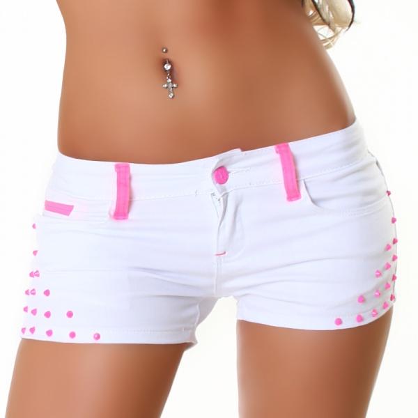 Jeans-shorts med nagler - hvit/rosa