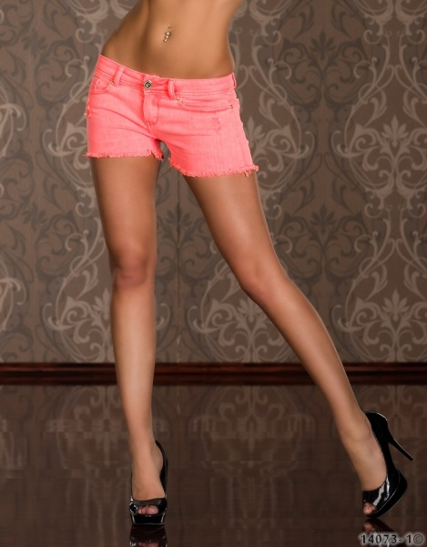 Trendy neon jeans-shorts - orange