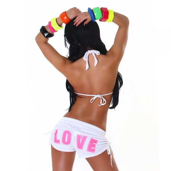 """Love"" shorts - hvit"