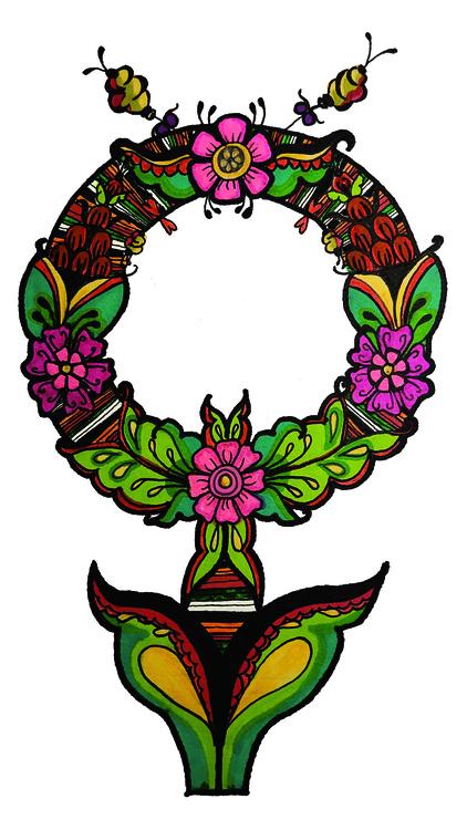 Venussymbol inspirerad av Rättviksdräkten och allmogekonsten kurbits.