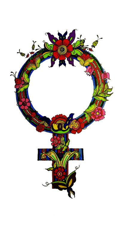 Venussymbol inspirerad av Leksandsdräkten och allmogekonsten kurbits