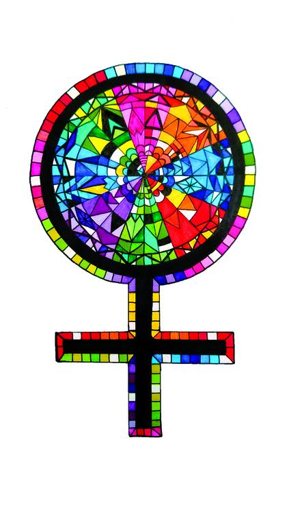 Venussymbol i Pride-färgerna inspirerad av kyrkfönster