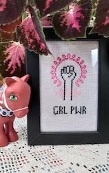 """""""GRL PWR"""" feministisk handbroderad tavla"""