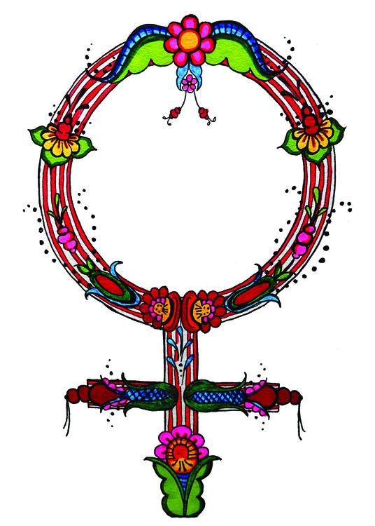 Venussymbol inspirerad av Älvdalsdräkten och allmogekonsten kurbits