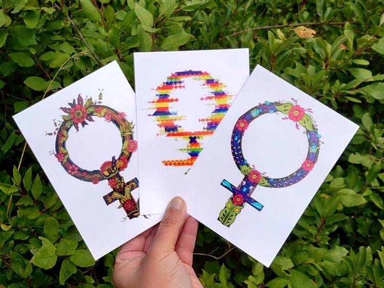 Tre vackra vykort med kvinnomärket venus