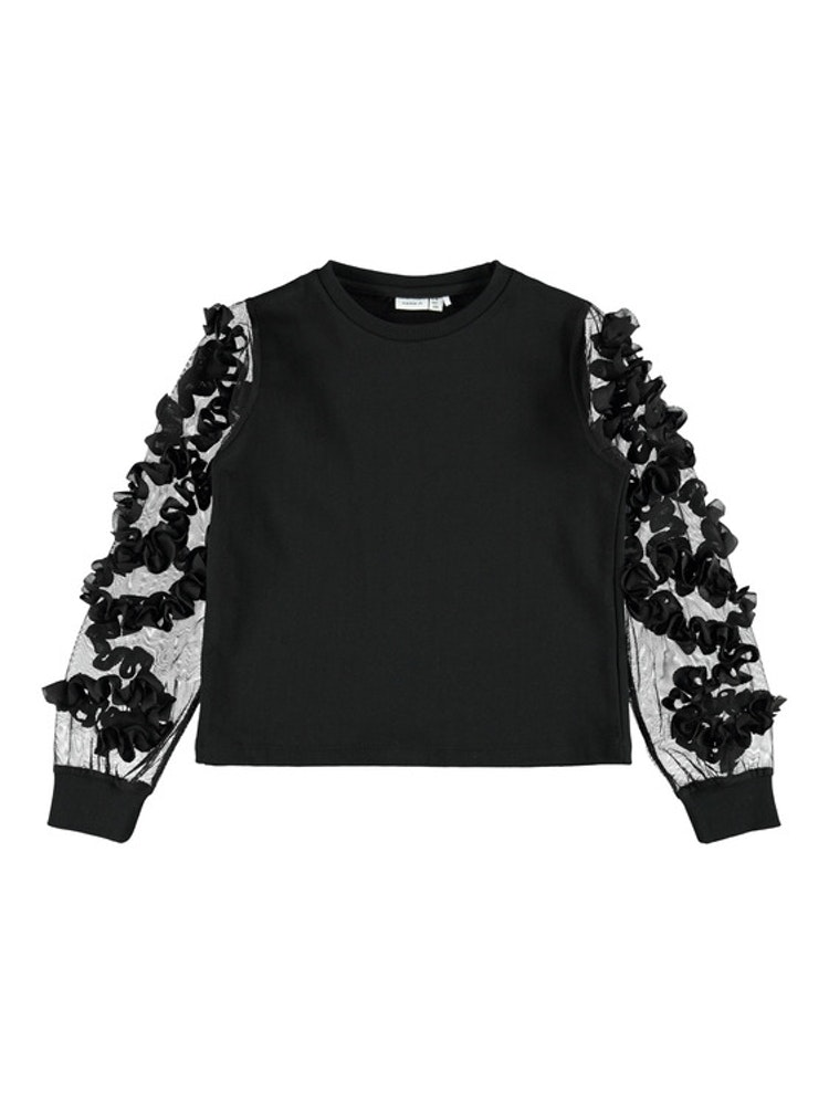 NAME IT - Sweatshirt med tyllärmar