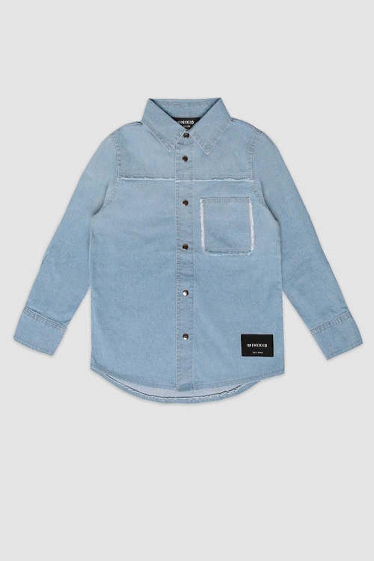 MINIKID ljusblå jeansskjorta för barn