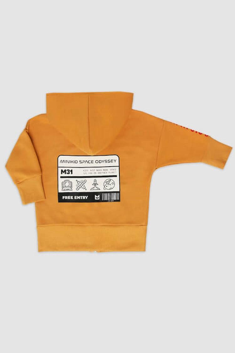 MINIKID gul luvtröja för barn med stort tryck på ryggen