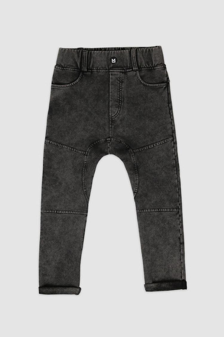 MINIKID svarta stentvättade jeans för barn