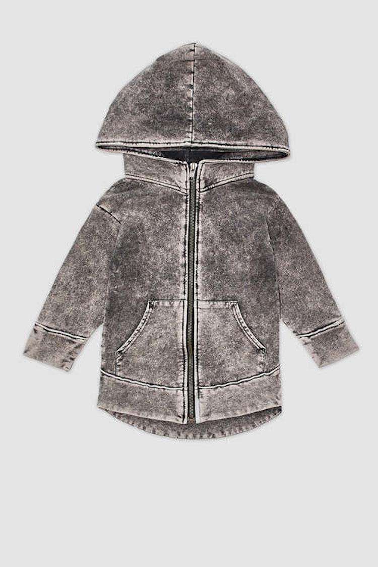 MINIKID grå luvtröja för barn.