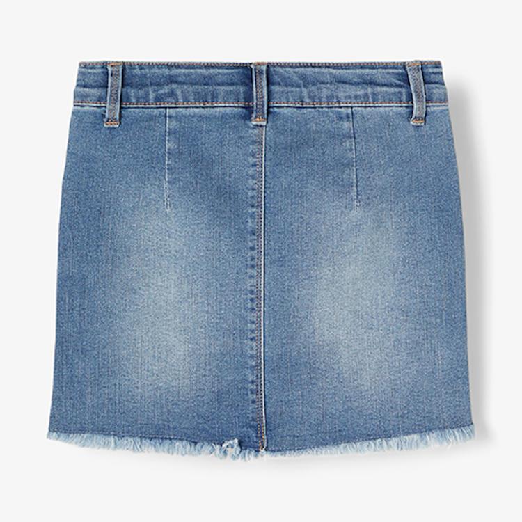NAME IT - Ljusblå jeanskjol med slitning