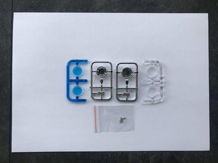 Lygtehuse 2 stk. runde med blå/klar glas