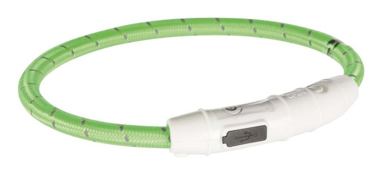 LYSENDE HALSBÅND 12700 GRØNN M/USB LADER XS/S 35CM