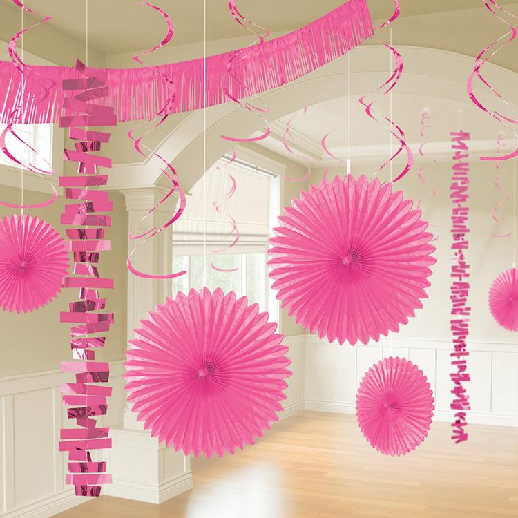 Bright Pink Room Decoration Kits - 6 PKG/18
