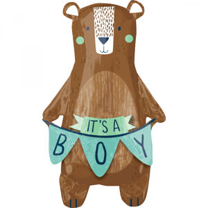 Baby boy bear foil balloon