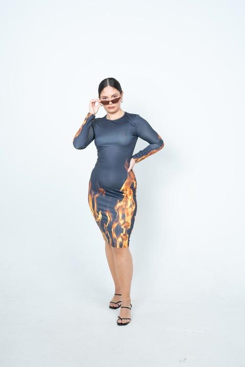 Fire Midi Dress