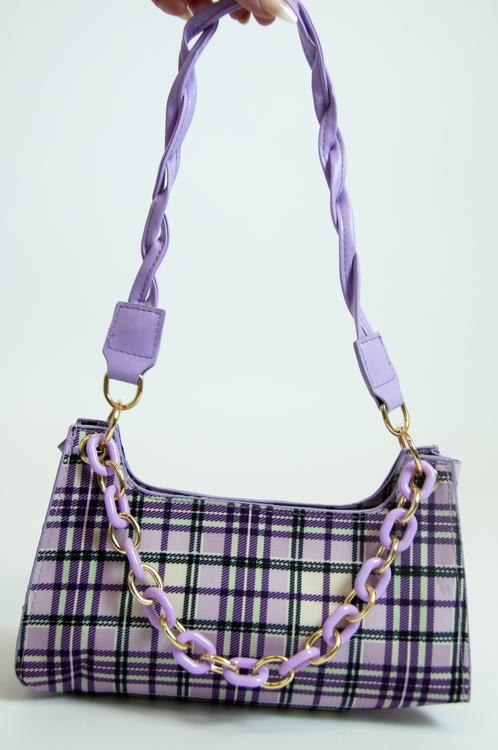 Checked Chain Bag
