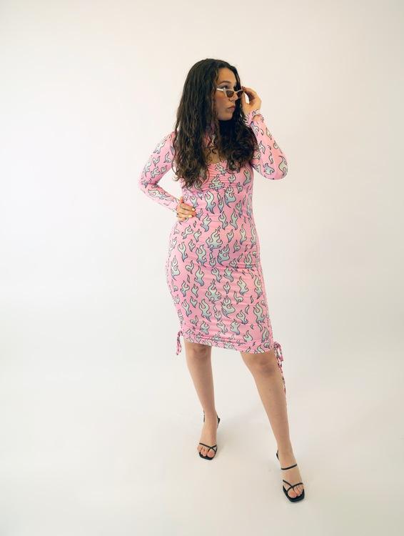 Pink Fire Print Bodycon Dress
