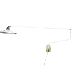 Vägglampa Lång Arm Vit/Mässing