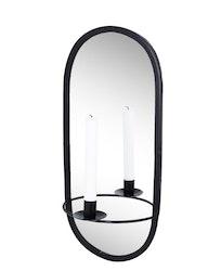 Spegel m. Ljushållare Svart