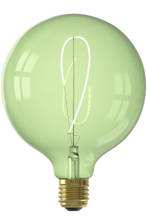 Calex NORA LED-färger Globe G125 mjuk U-filament 240V 4W E27, Emerald Green 2200K dimbar