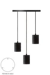 Calex Retro hänglampa med takplatta dia 400mm, svart beslag 3xE40 (2 m tråd)