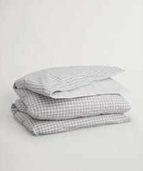 Stripes and Checks Påslakan 150x210 cm Grey
