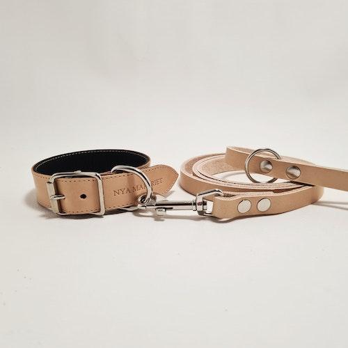 "Halsband & Koppel ""DEXTER"" Natur 2,5cm"