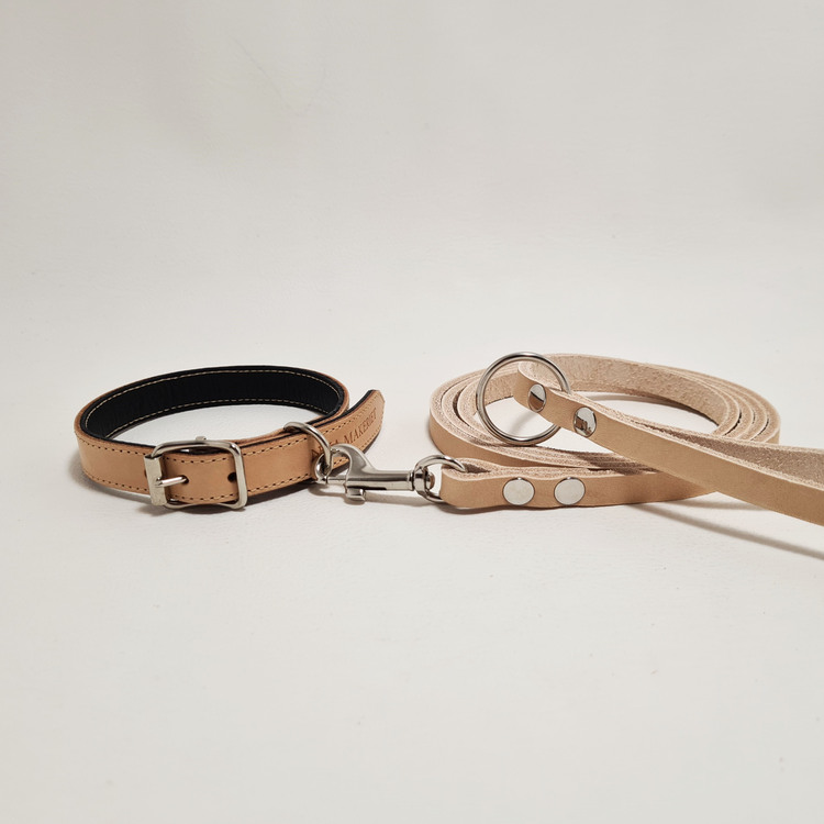 "Halsband & Koppel ""DEXTER"" Natur 1,5cm"