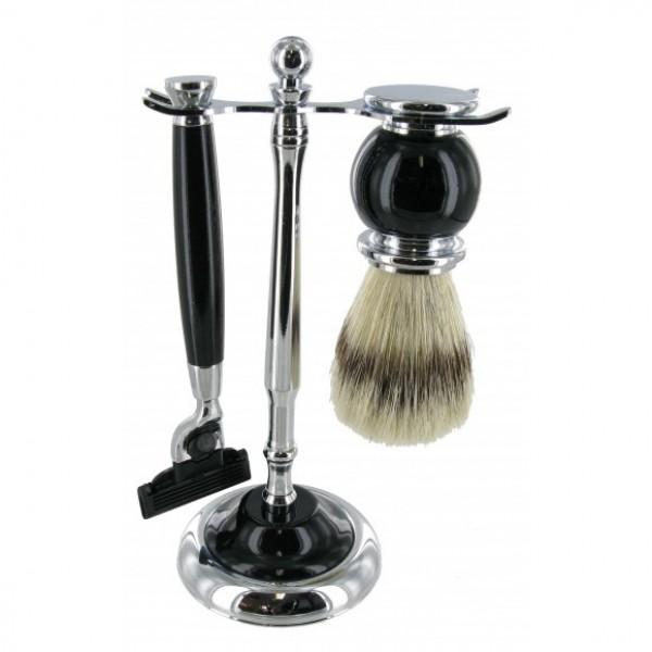 Shaving Stand Set Three Piece Black (with Mach 3 Razor)