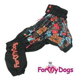 "Regnoverall ""Black Flowery"" Tik ""For My Dogs"""
