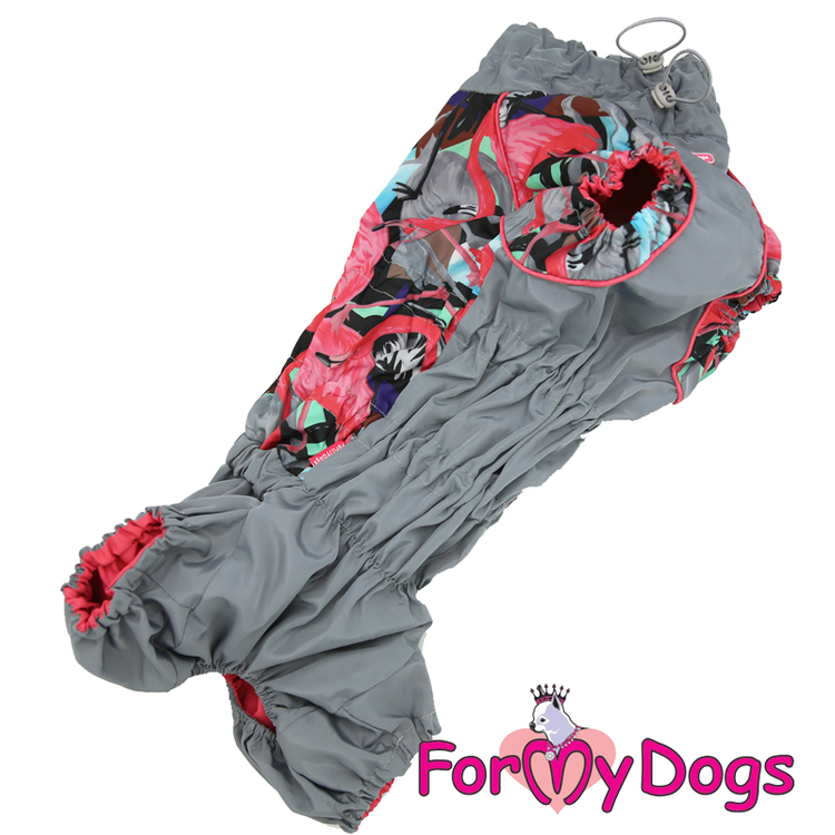 "Regnoverall ""Grey Flamingo"" Tik ""For My Dogs"""