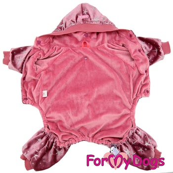 "Varm Mysdress Pyjamas overall ""Rosa stjärnor"" Unisex ""For My Dogs"""