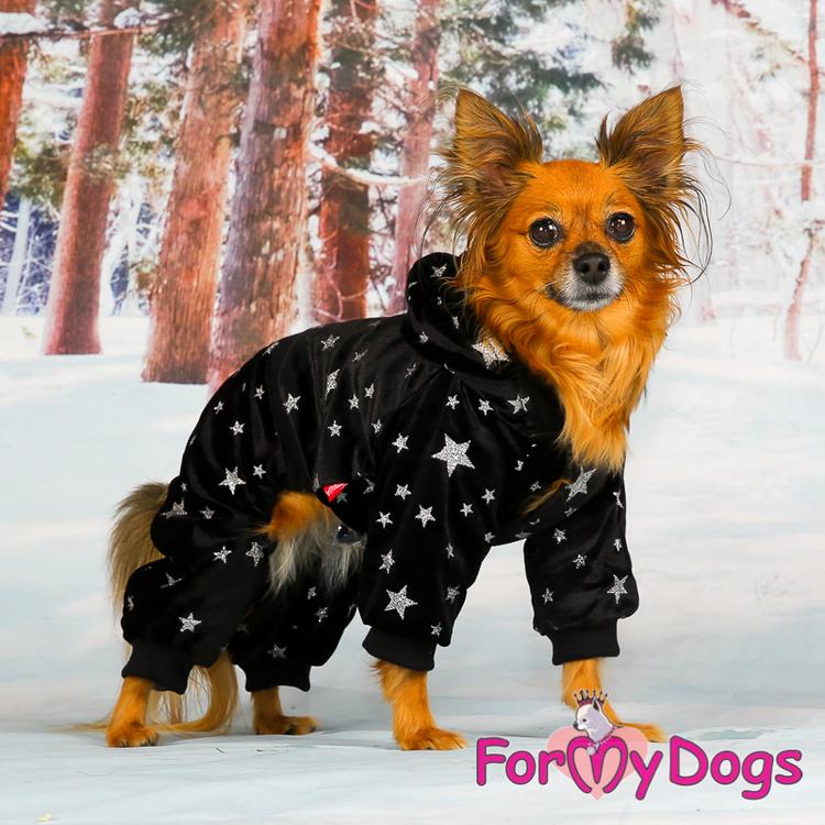 "Varm Mysdress pyjamas overall ""Svart Stjärna"" UNISEX ""For My Dogs"""