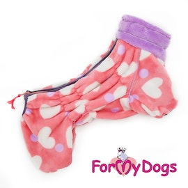 """Fleece Overall """"PINK HEART"""" Tik"""" For My Dogs"""""""