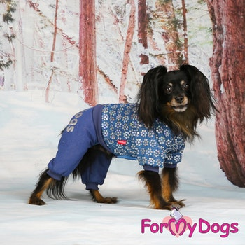 "Varm Mysdress pyjamas overall ""Blå Paljetter"" UNISEX ""For My Dogs"""