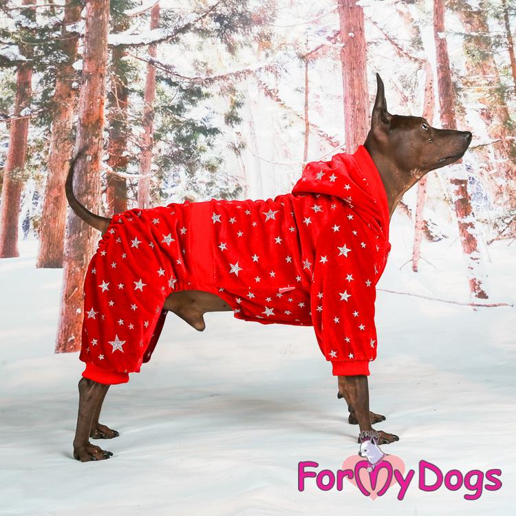 "Varm Mysdress pyjamas overall ""Röd Stjärna"" UNISEX ""For My Dogs"""