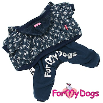 "Varm Mysdress pyjamas overall ""Blå Paljett"" UNISEX ""For My Dogs"""