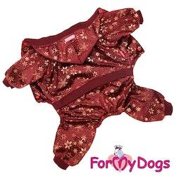 "Varm Mysdress Pyjamas overall ""Vinröd stjärnor"" Unisex ""For My Dogs"""