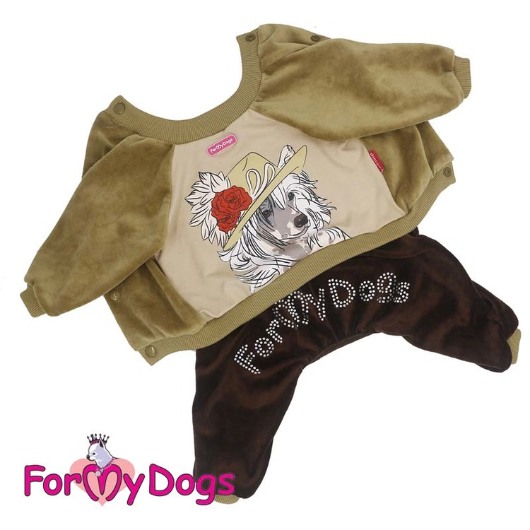 "Mysdress pyjamas overall ""Brun Chinese Crested Dog"" UNISEX ""For My Dogs"""