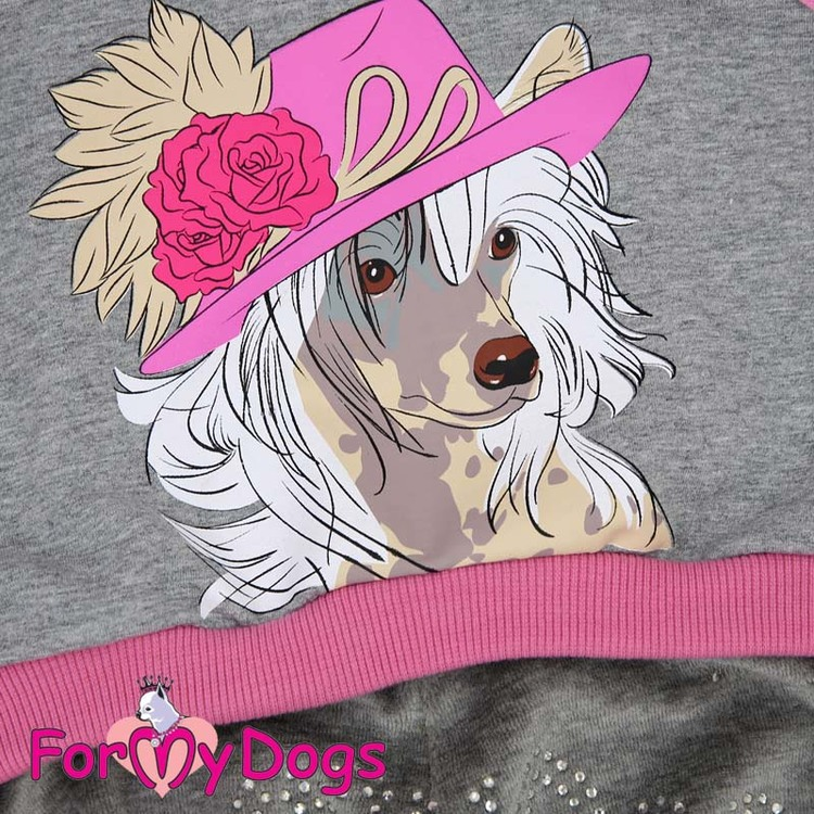 """Mysdress pyjamas overall """"Rosa Chinese Crested Dog"""" UNISEX """"For My Dogs"""""""