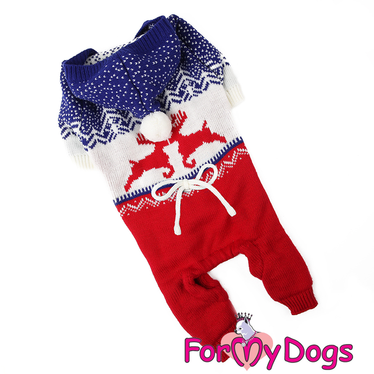 "Stickad Mysdress Pyjamas overall ""Röda Renar"" Unisex ""For My Dogs"""