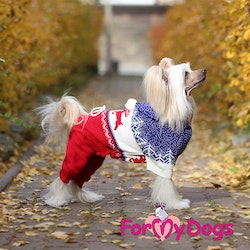 "Stickad Mysdress Pyjamas overall ""Röda Renar"" Unisex ""For My Dogs"""