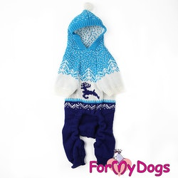 "Stickad Mysdress Pyjamas overall ""Blå Renar"" Unisex ""For My Dogs"""