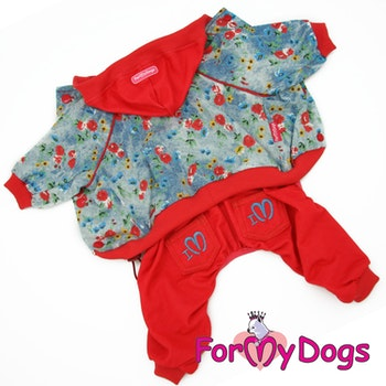 "Suit Mysdress Pyjamas overall ""Röd Blommig"" Unisex ""For My Dogs"""