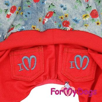 "Suit Mysdress Pyjamas overall ""Röd Blommig"" Unisex ""For My Dogs"""