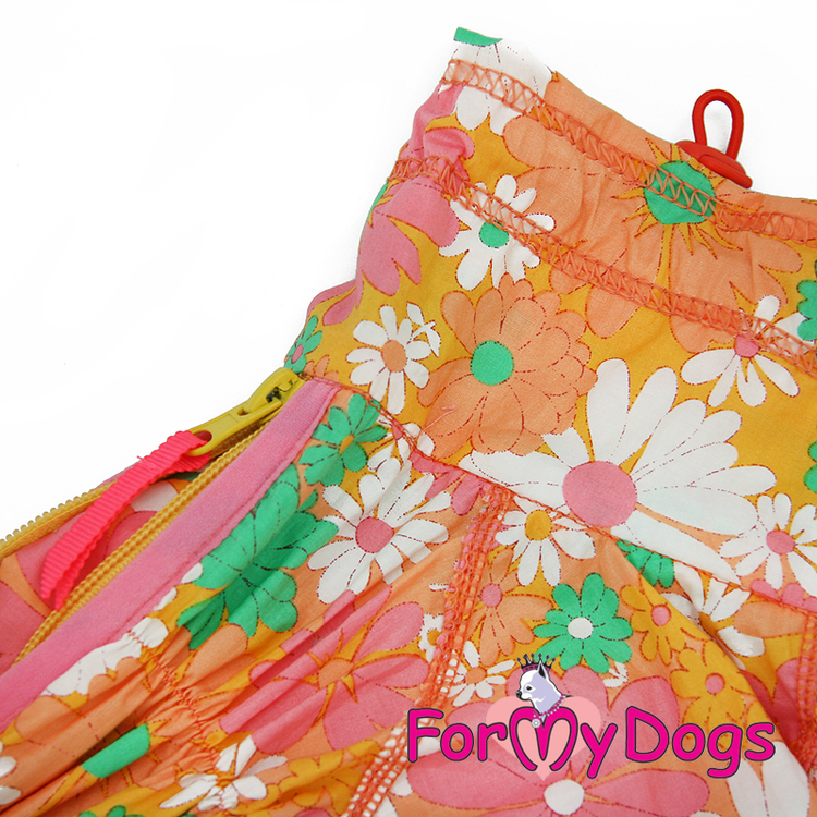 """Duster tunn skyddsoverall """"Orange Blomma"""" Tik """"For My Dogs"""""""