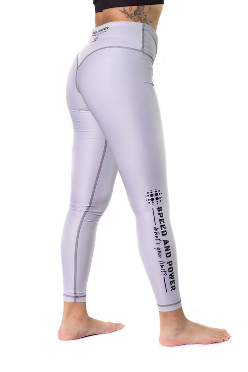 Speed and Power mjuk compression leggings Silvergrå