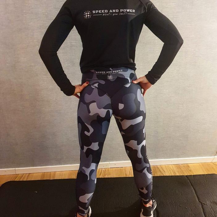 Speed and Power mjuk compression leggings Silvercamo