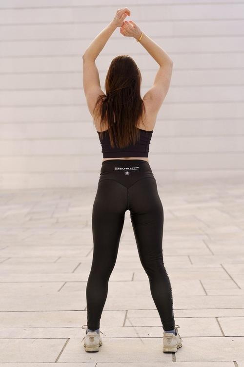 Speed and Power  mjuk compression leggings Ny svart